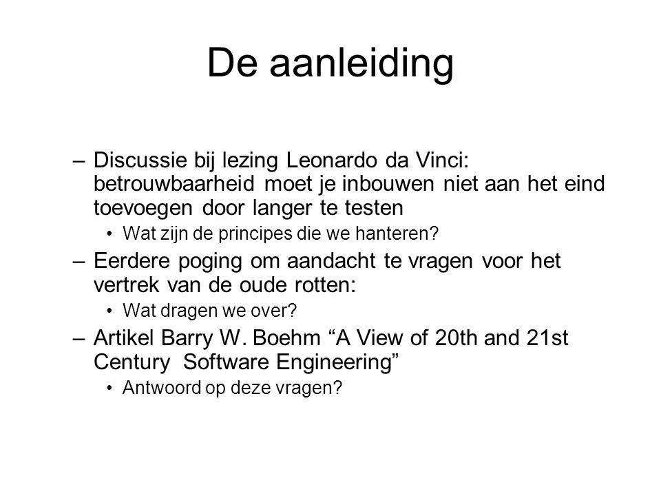 De aanleiding Discussie bij lezing Leonardo da Vinci: betrouwbaarheid moet je inbouwen niet aan het eind toevoegen door langer te testen.