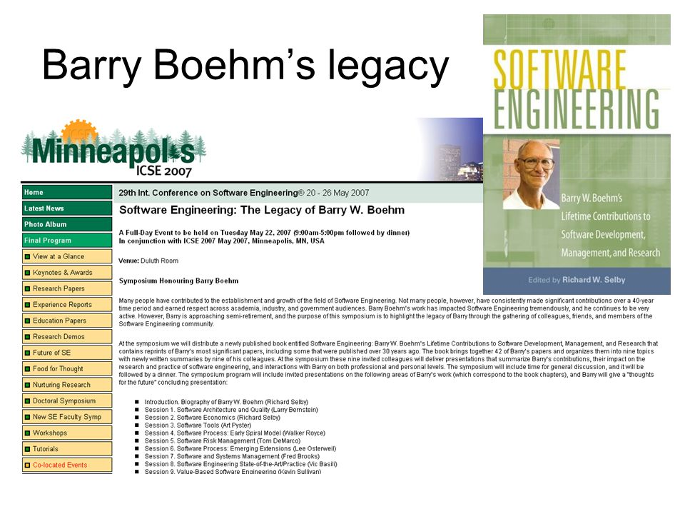 Barry Boehm's legacy