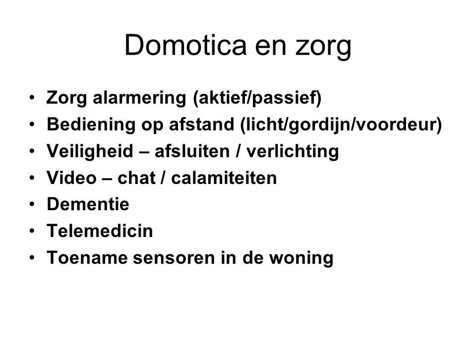 Domotica en zorg Zorg alarmering (aktief/passief)