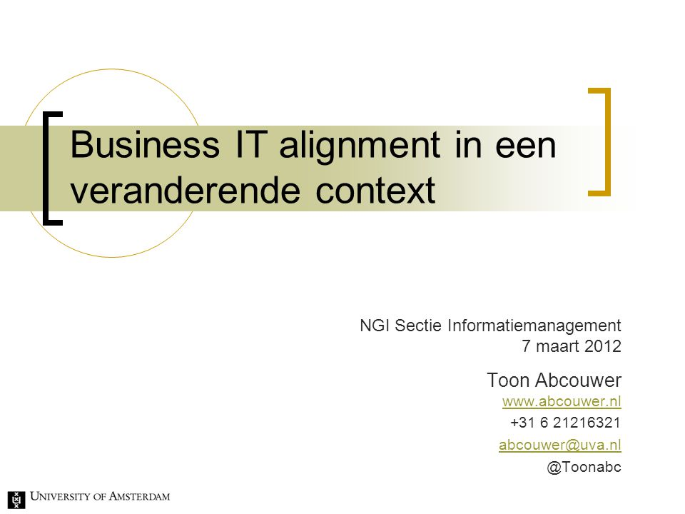 Business IT alignment in een veranderende context