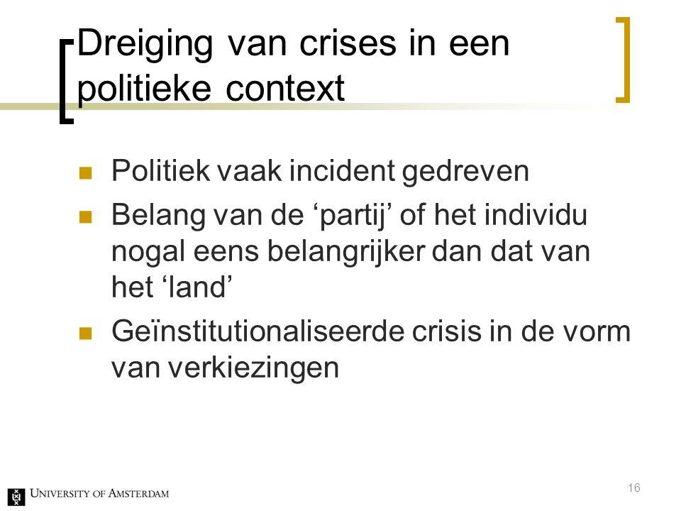Dreiging van crises in een politieke context
