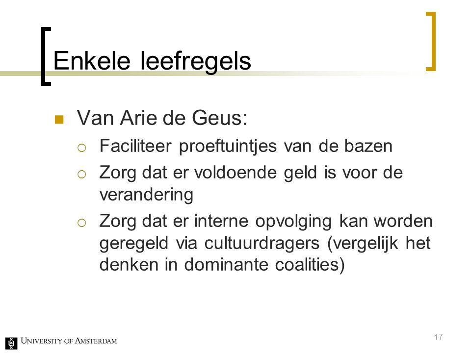 Enkele leefregels Van Arie de Geus: