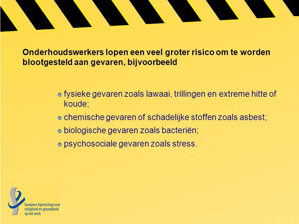 Onderhoudswerkers lopen een veel groter risico om te worden blootgesteld aan gevaren, bijvoorbeeld