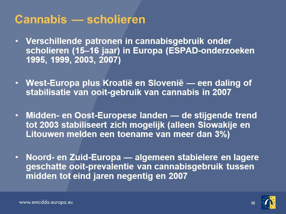 Cannabis — scholieren Verschillende patronen in cannabisgebruik onder scholieren (15–16 jaar) in Europa (ESPAD-onderzoeken 1995, 1999, 2003, 2007)