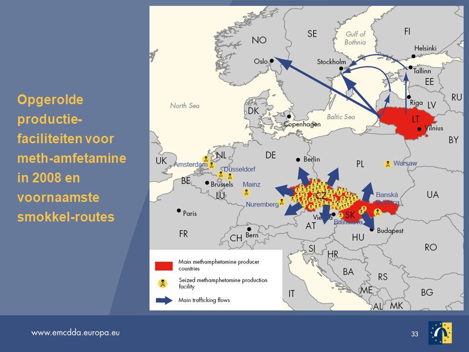 Opgerolde productie-faciliteiten voor meth-amfetamine in 2008 en voornaamste smokkel-routes