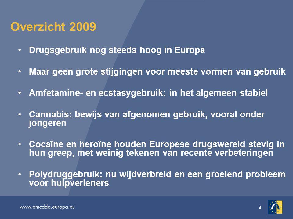 Overzicht 2009 Drugsgebruik nog steeds hoog in Europa