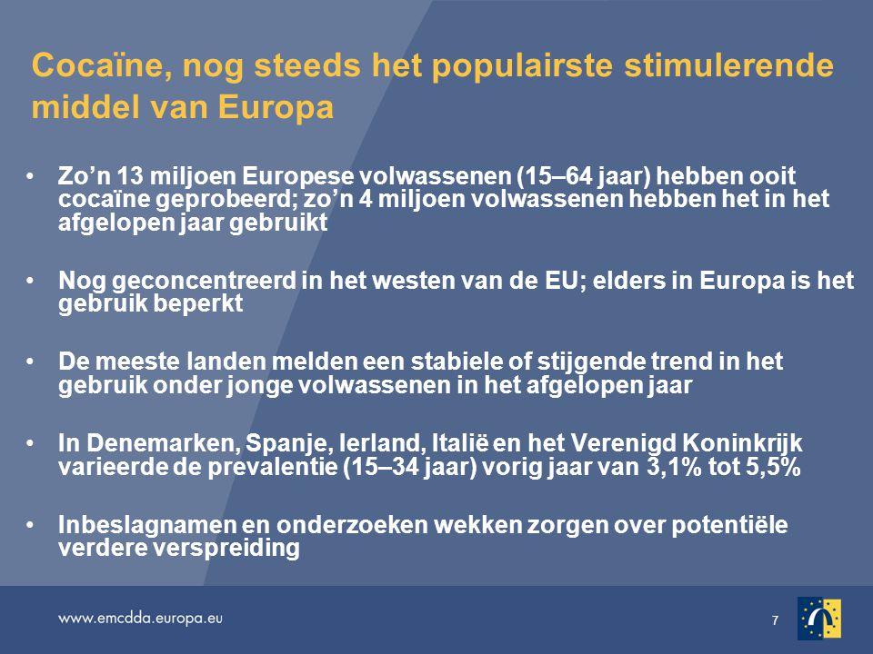 Cocaïne, nog steeds het populairste stimulerende middel van Europa