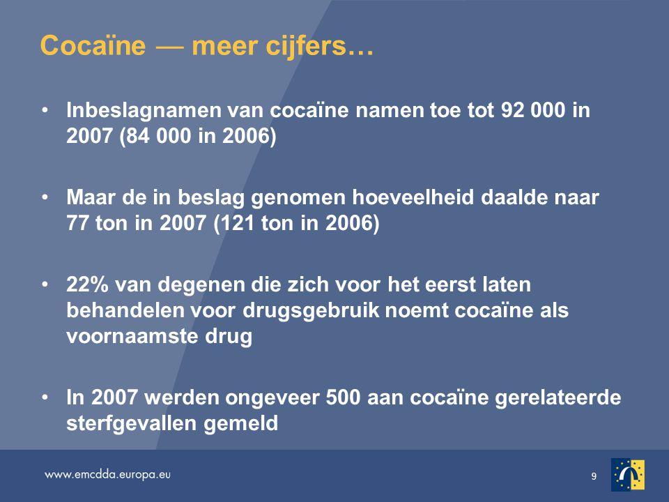 Cocaïne — meer cijfers…