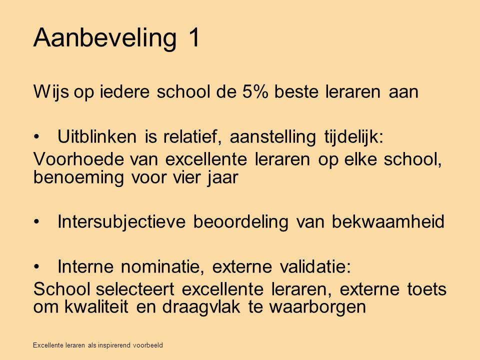 Aanbeveling 1 Wijs op iedere school de 5% beste leraren aan