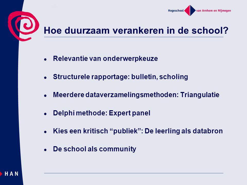 Hoe duurzaam verankeren in de school