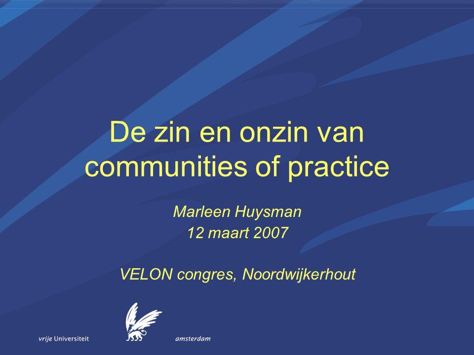 De zin en onzin van communities of practice