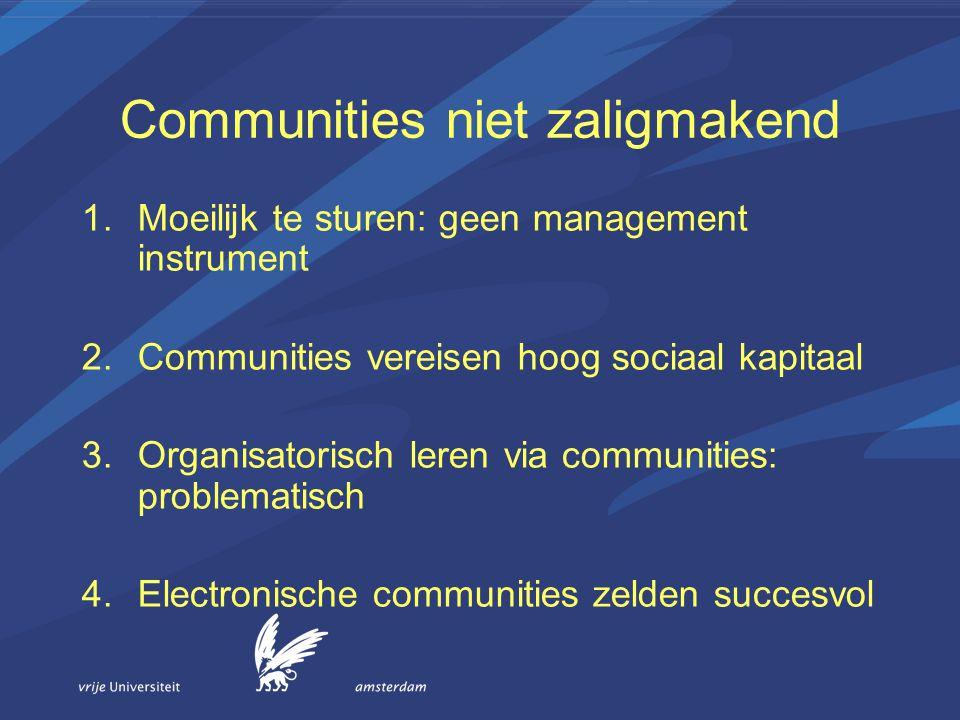 Communities niet zaligmakend