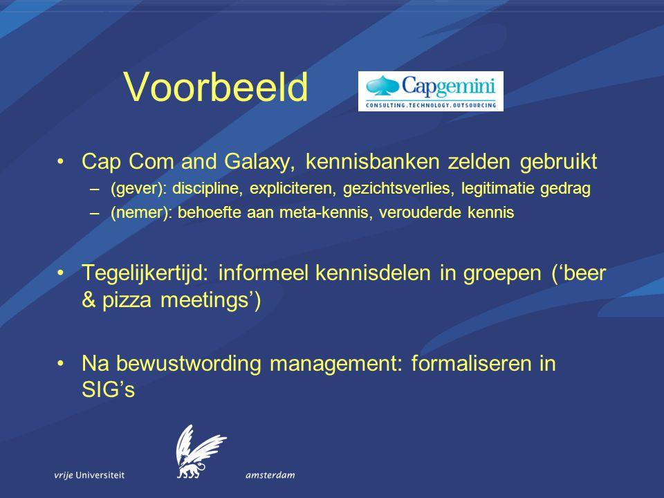 Voorbeeld Cap Com and Galaxy, kennisbanken zelden gebruikt