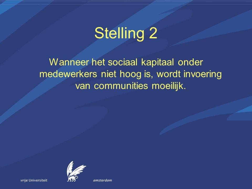 Stelling 2 Wanneer het sociaal kapitaal onder medewerkers niet hoog is, wordt invoering van communities moeilijk.