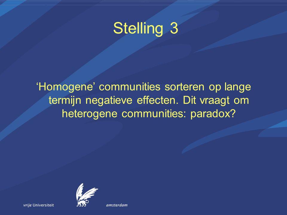 Stelling 3 'Homogene' communities sorteren op lange termijn negatieve effecten.