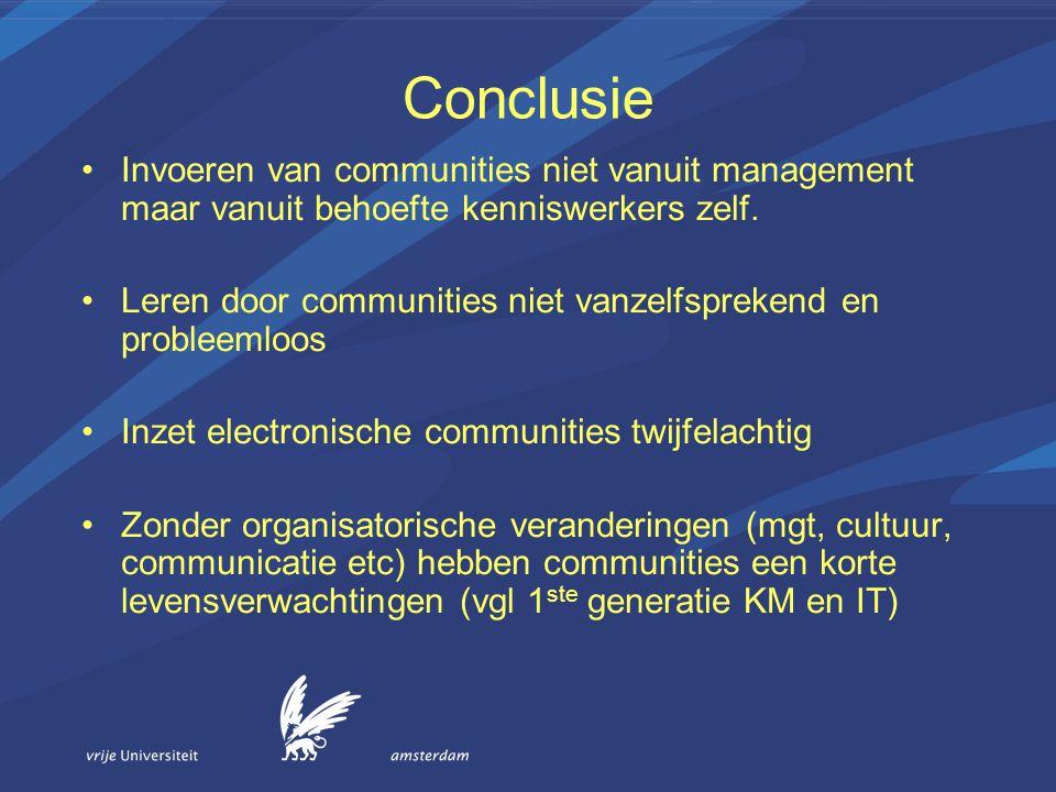 Conclusie Invoeren van communities niet vanuit management maar vanuit behoefte kenniswerkers zelf.