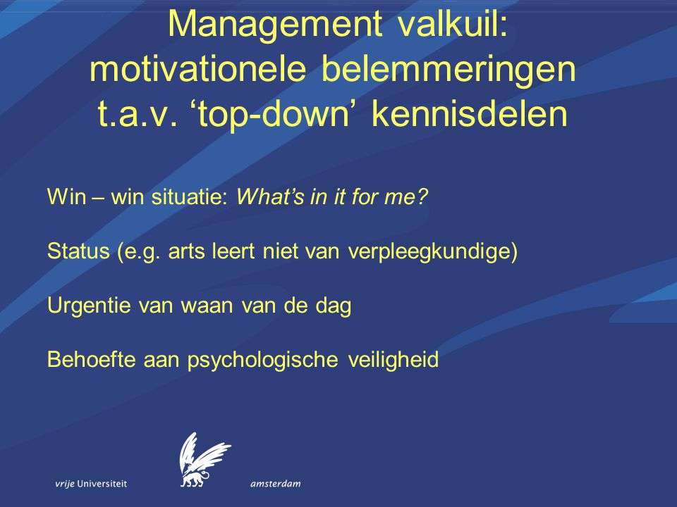 Management valkuil: motivationele belemmeringen t. a. v