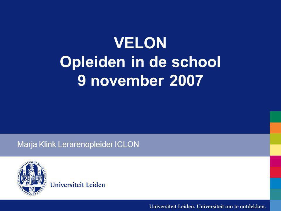 VELON Opleiden in de school 9 november 2007