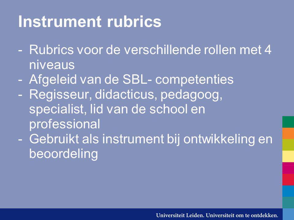Instrument rubrics Rubrics voor de verschillende rollen met 4 niveaus