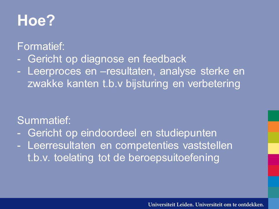 Hoe Formatief: Gericht op diagnose en feedback