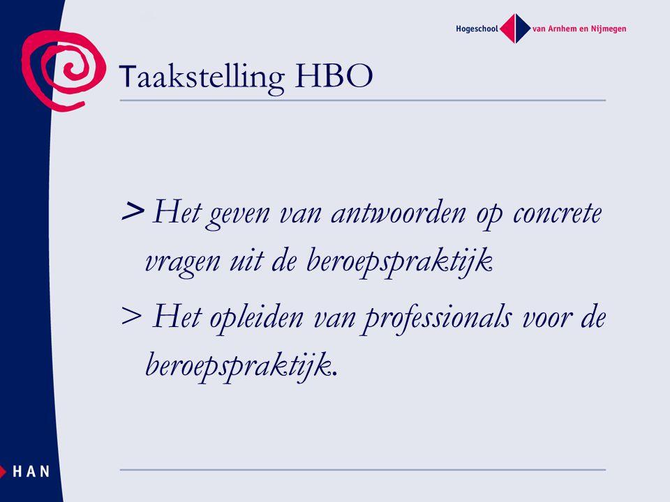Taakstelling HBO > Het geven van antwoorden op concrete vragen uit de beroepspraktijk > Het opleiden van professionals voor de beroepspraktijk.