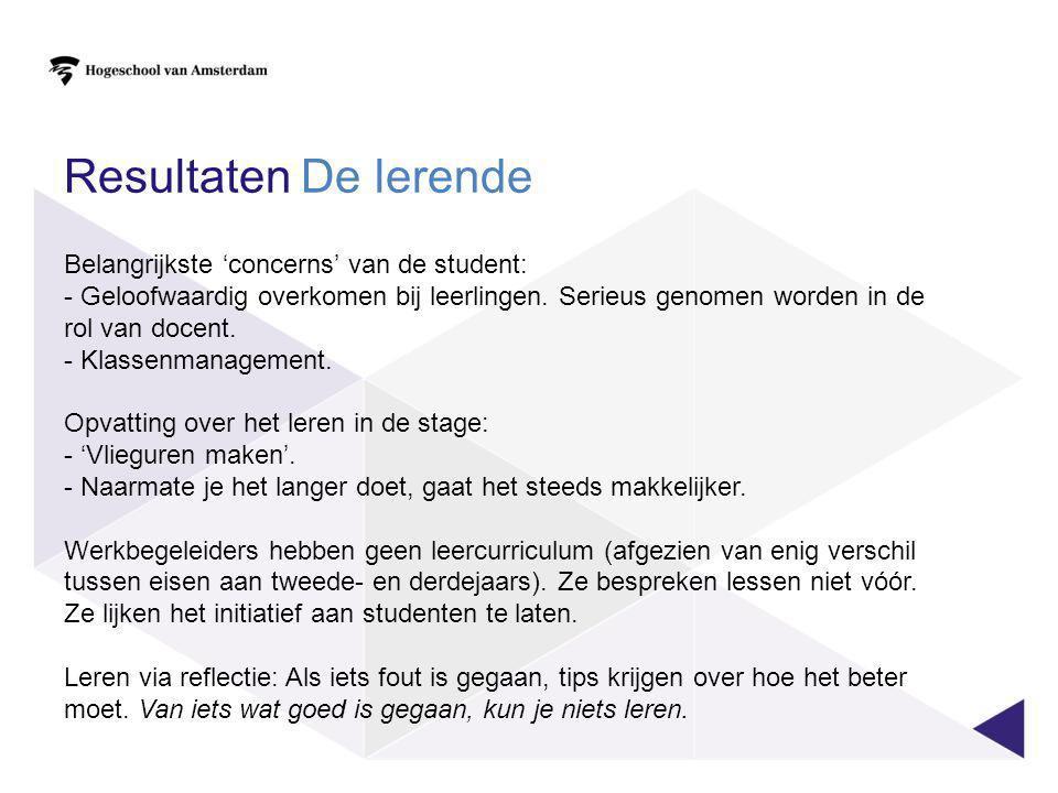 Resultaten De lerende Belangrijkste 'concerns' van de student: