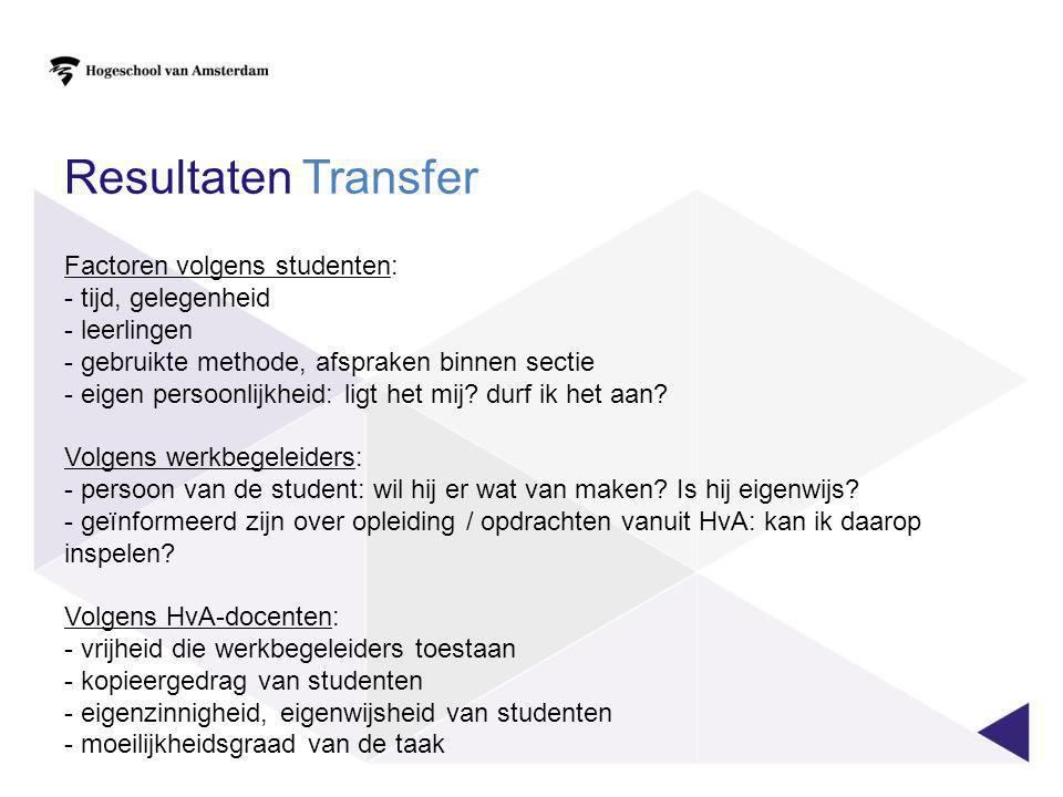 Resultaten Transfer Factoren volgens studenten: tijd, gelegenheid