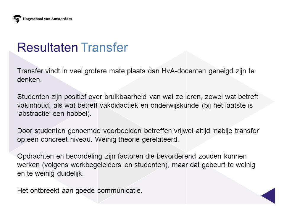 Resultaten Transfer Transfer vindt in veel grotere mate plaats dan HvA-docenten geneigd zijn te denken.