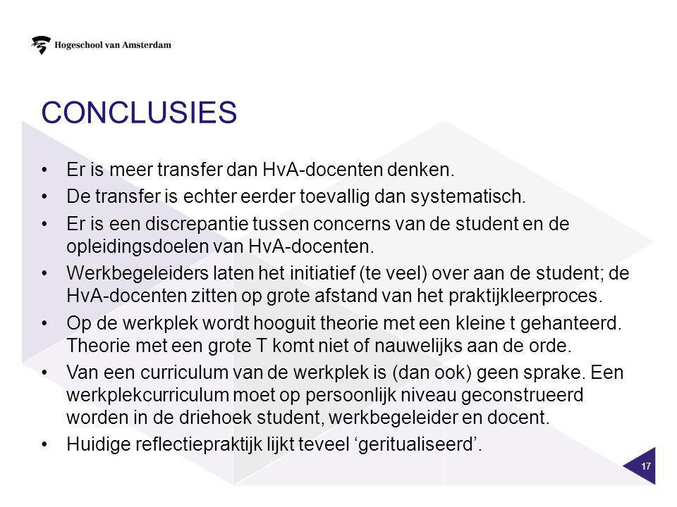 conclusies Er is meer transfer dan HvA-docenten denken.
