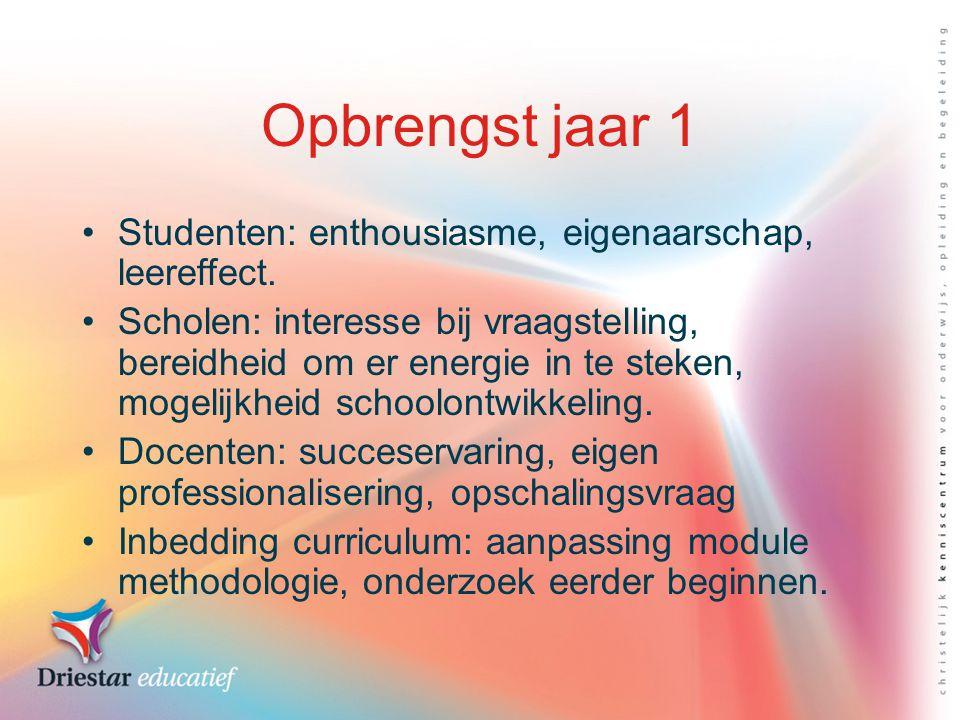 Opbrengst jaar 1 Studenten: enthousiasme, eigenaarschap, leereffect.