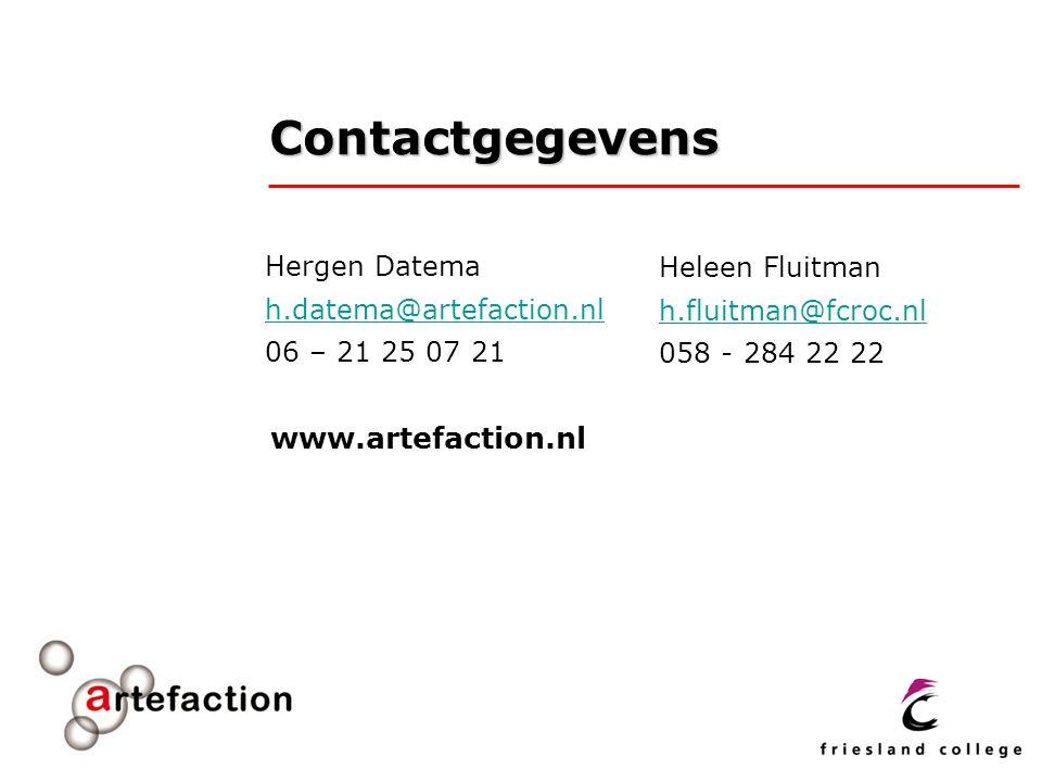 Contactgegevens www.artefaction.nl Hergen Datema Heleen Fluitman
