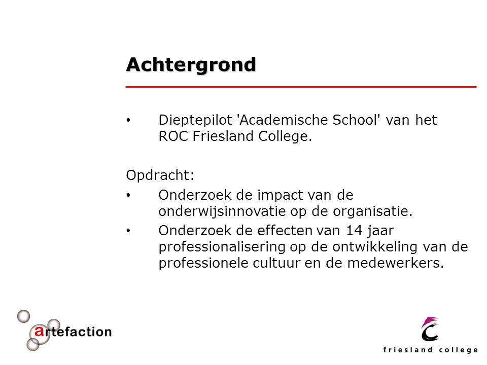 Achtergrond Dieptepilot Academische School van het ROC Friesland College. Opdracht: