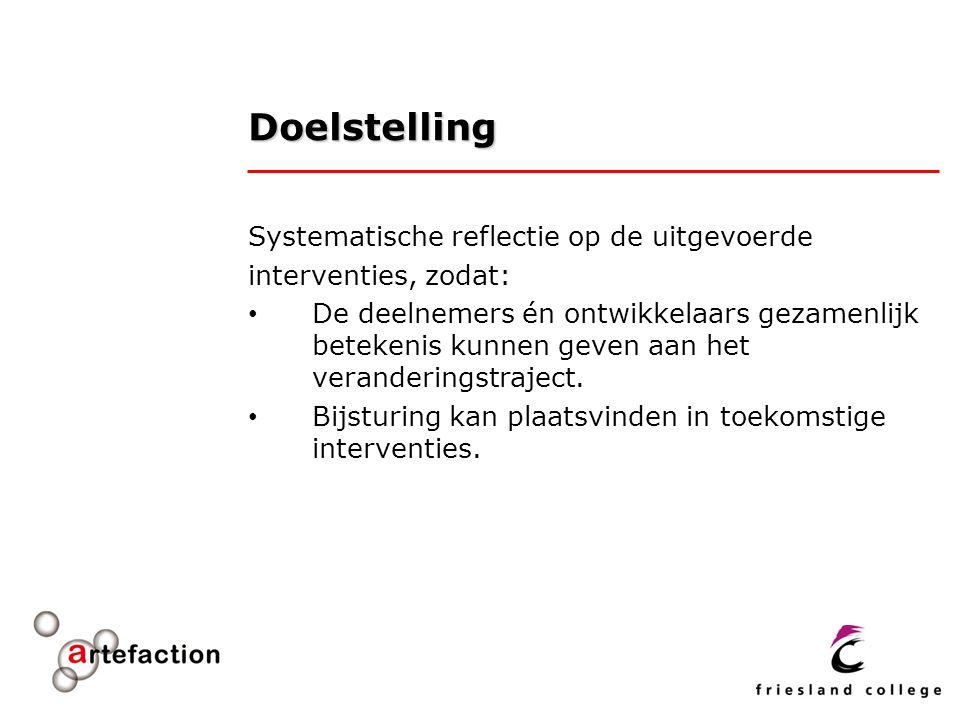 Doelstelling Systematische reflectie op de uitgevoerde