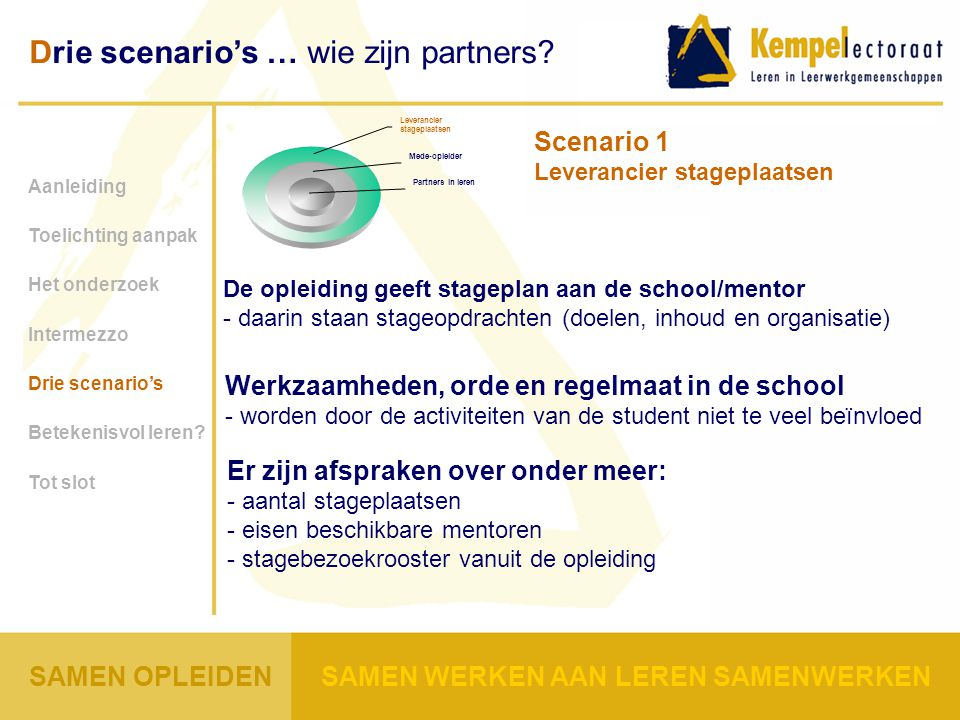 Scenario 1 Leverancier stageplaatsen