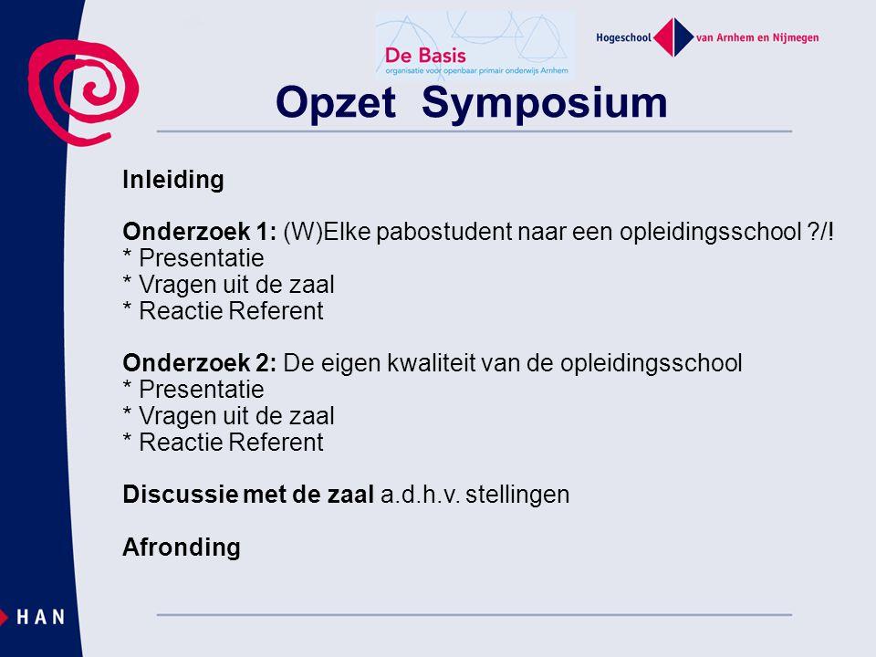 Opzet Symposium Inleiding