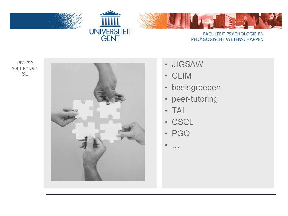 JIGSAW CLIM basisgroepen peer-tutoring TAI CSCL PGO …