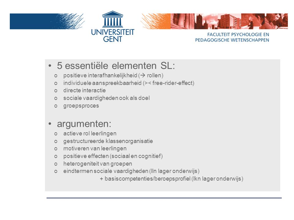 5 essentiële elementen SL: