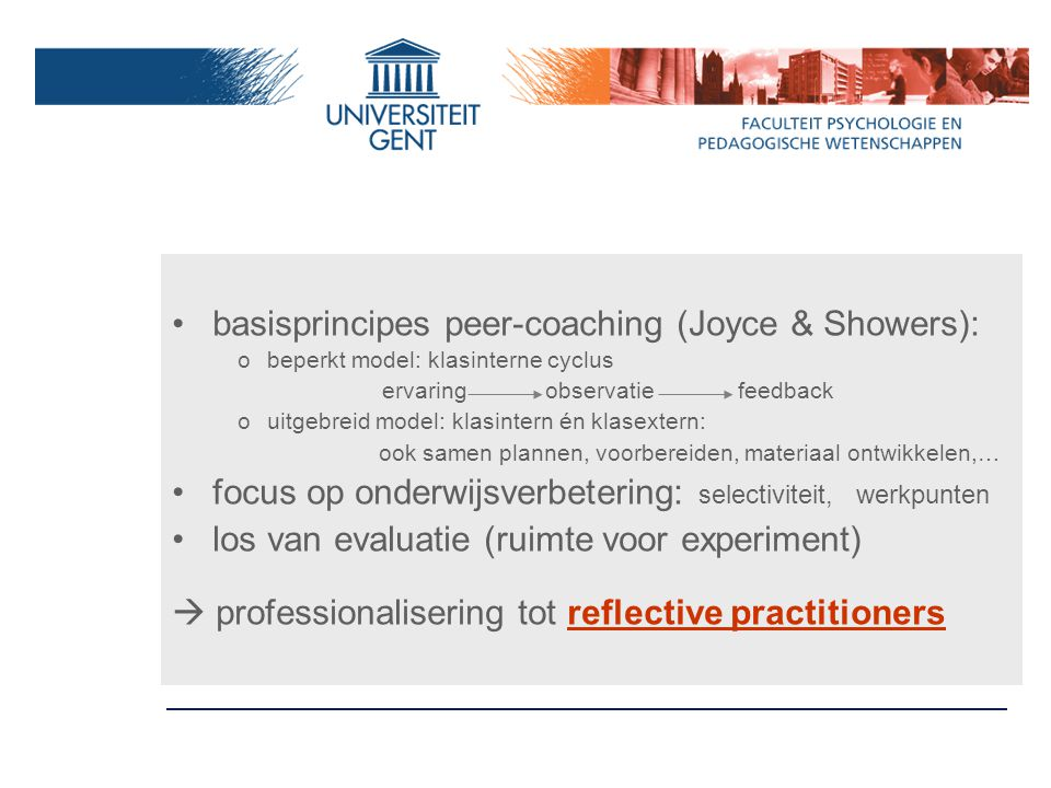 basisprincipes peer-coaching (Joyce & Showers):