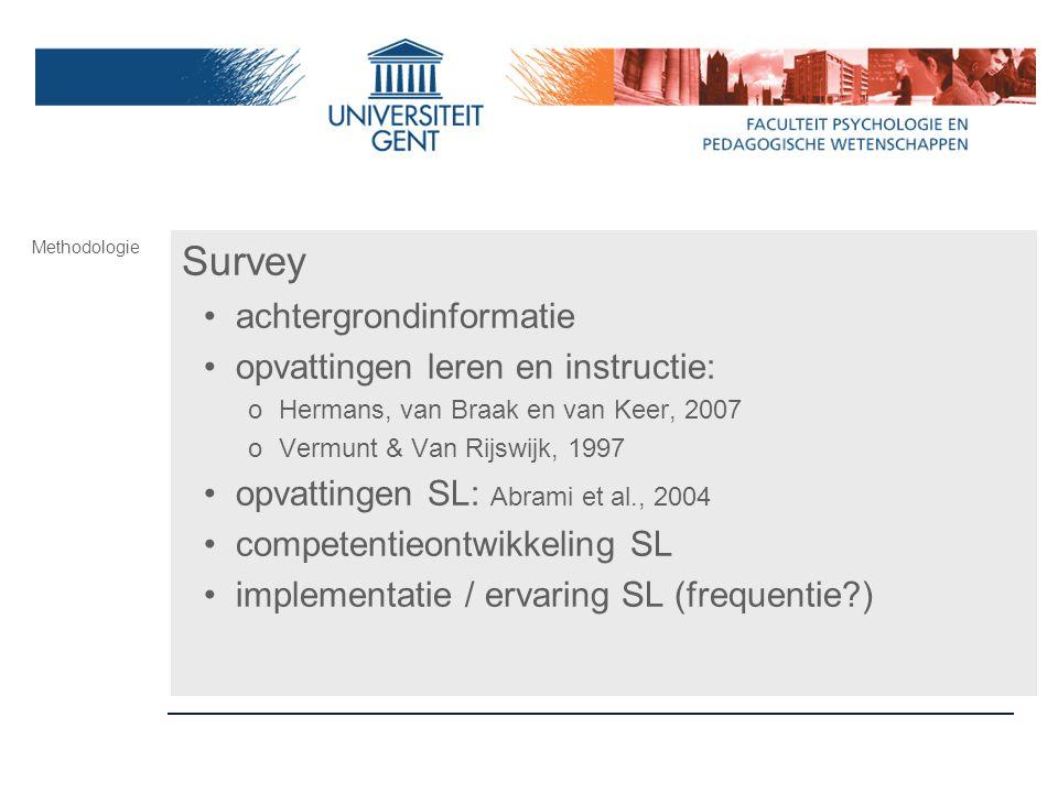 Survey achtergrondinformatie opvattingen leren en instructie: