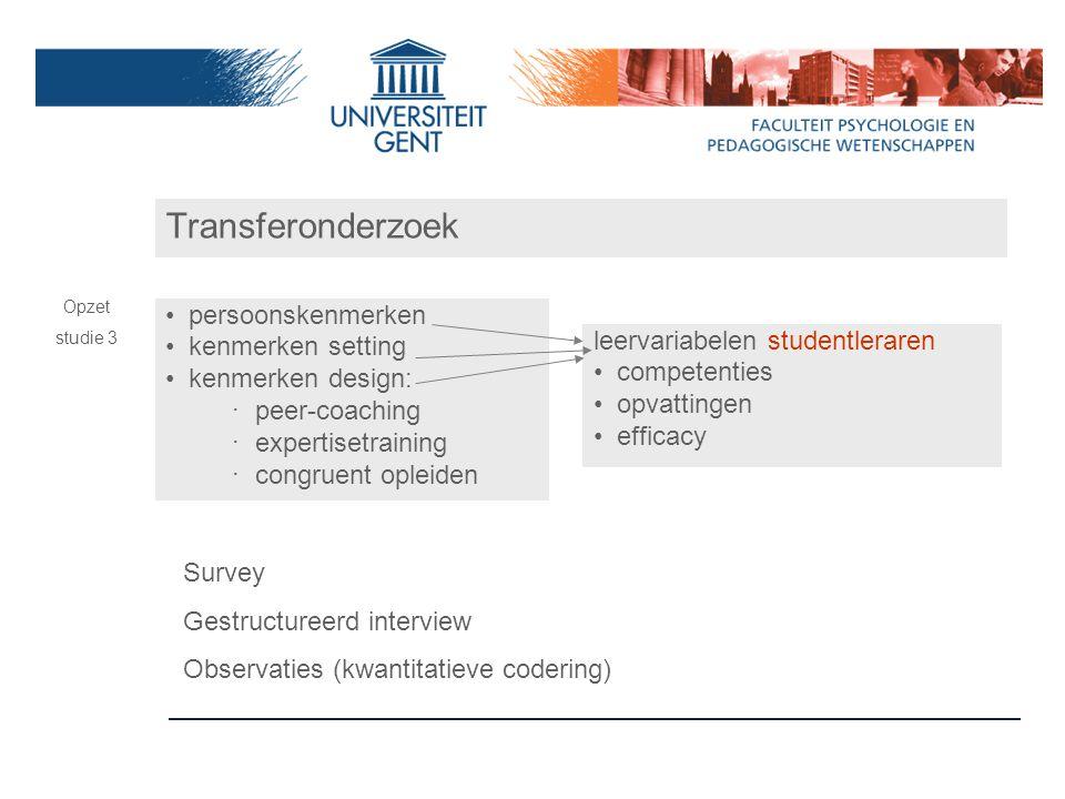 Transferonderzoek persoonskenmerken kenmerken setting