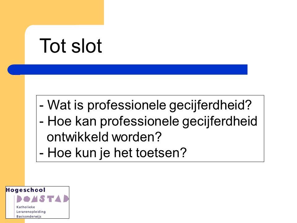 Tot slot - Wat is professionele gecijferdheid