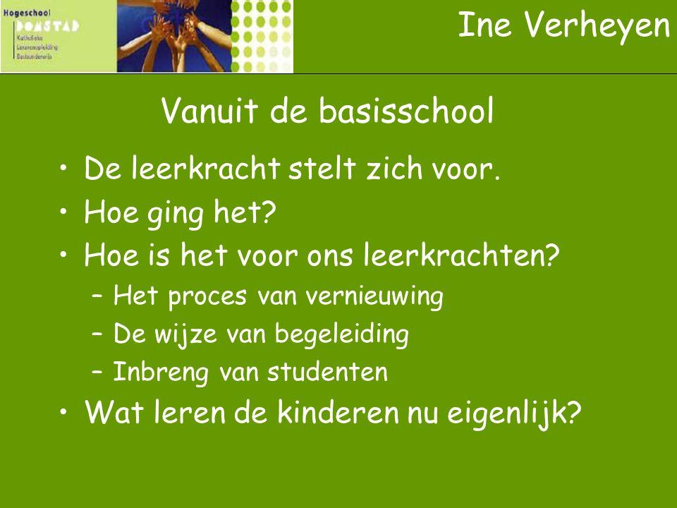 Ine Verheyen Vanuit de basisschool De leerkracht stelt zich voor.