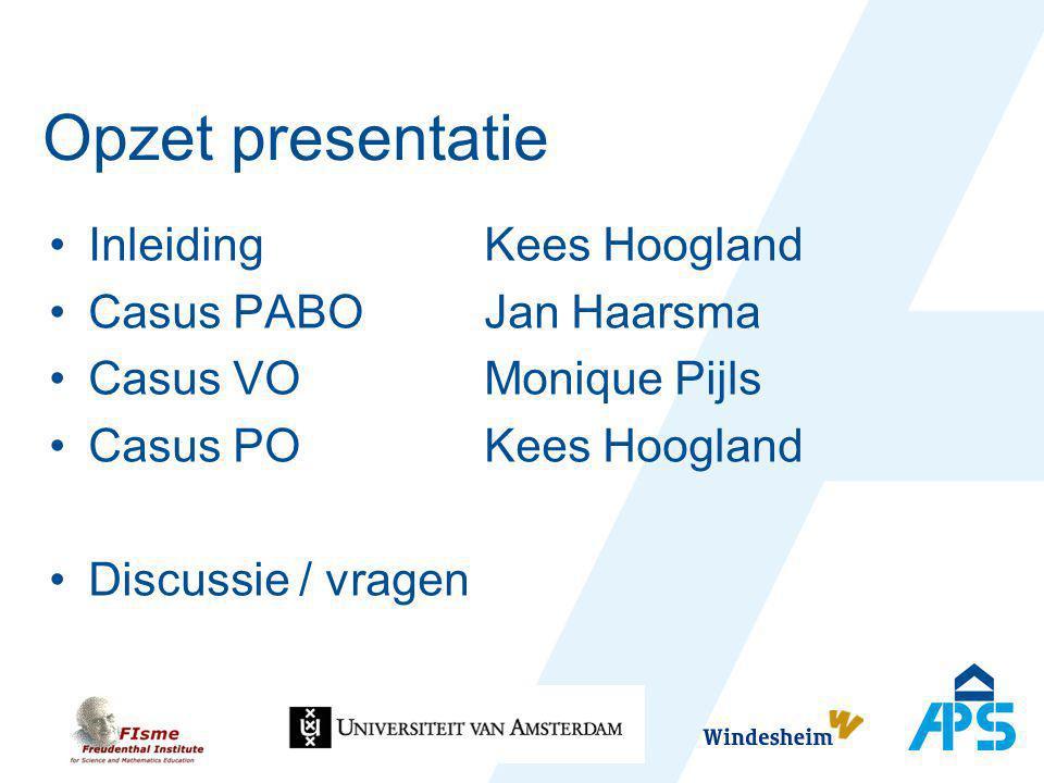 Opzet presentatie Inleiding Kees Hoogland Casus PABO Jan Haarsma