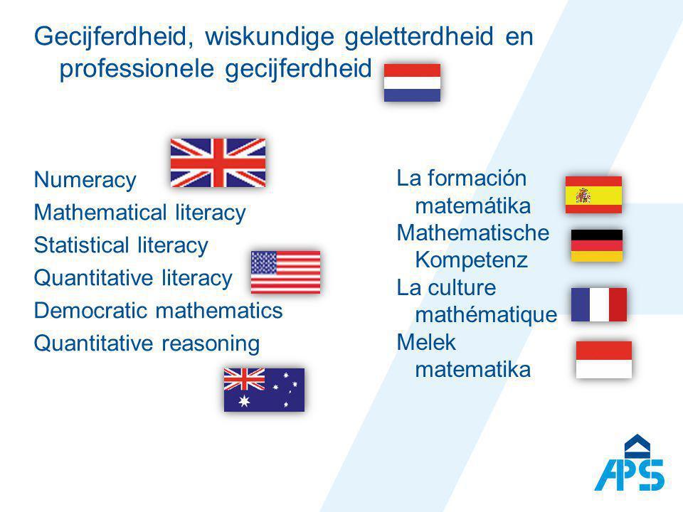 Gecijferdheid, wiskundige geletterdheid en professionele gecijferdheid
