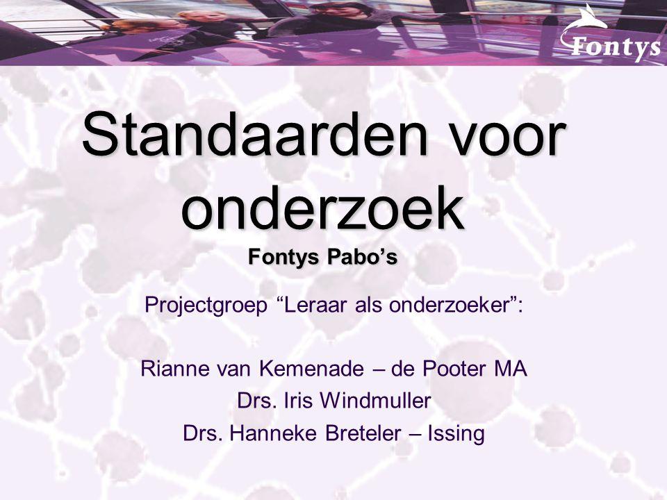 Standaarden voor onderzoek Fontys Pabo's