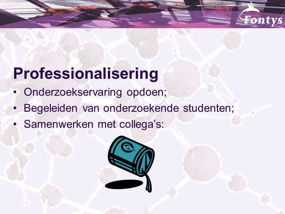 Professionalisering Onderzoekservaring opdoen;