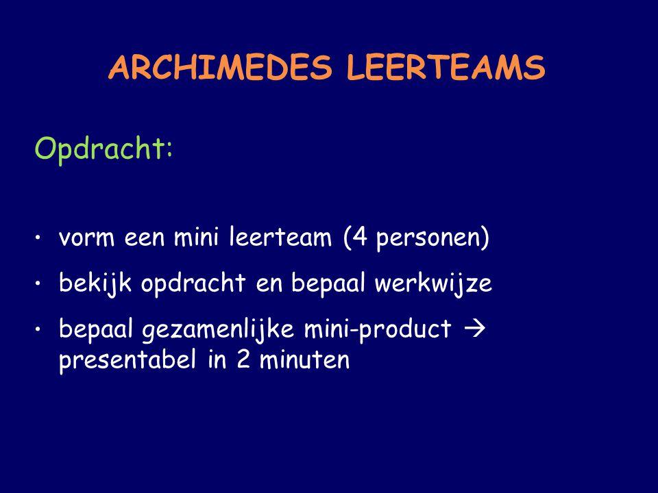 ARCHIMEDES LEERTEAMS Opdracht: vorm een mini leerteam (4 personen)
