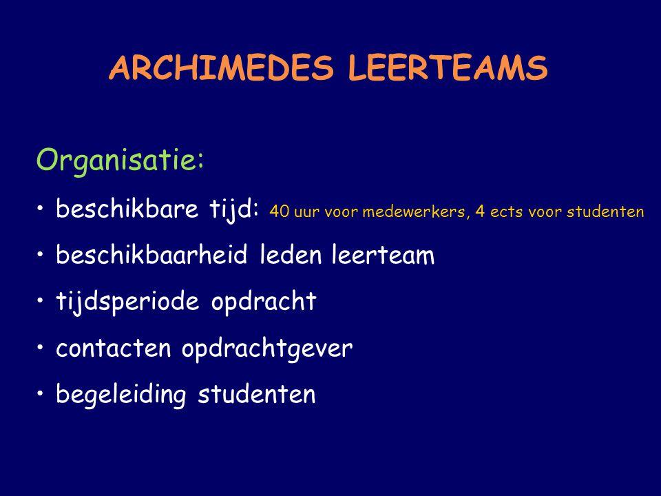 ARCHIMEDES LEERTEAMS Organisatie: