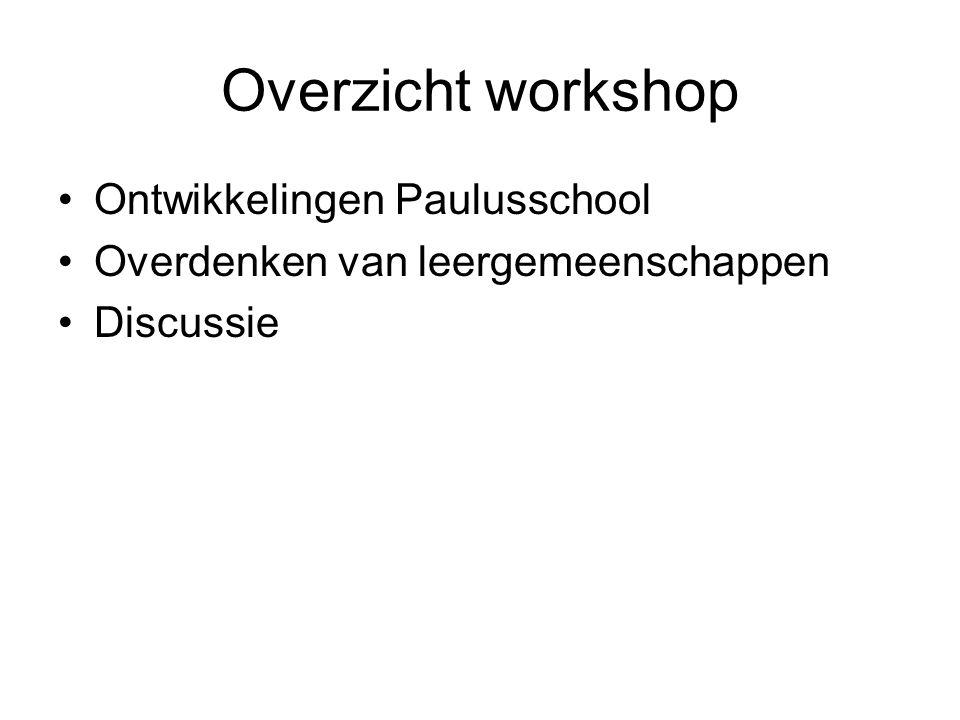 Overzicht workshop Ontwikkelingen Paulusschool
