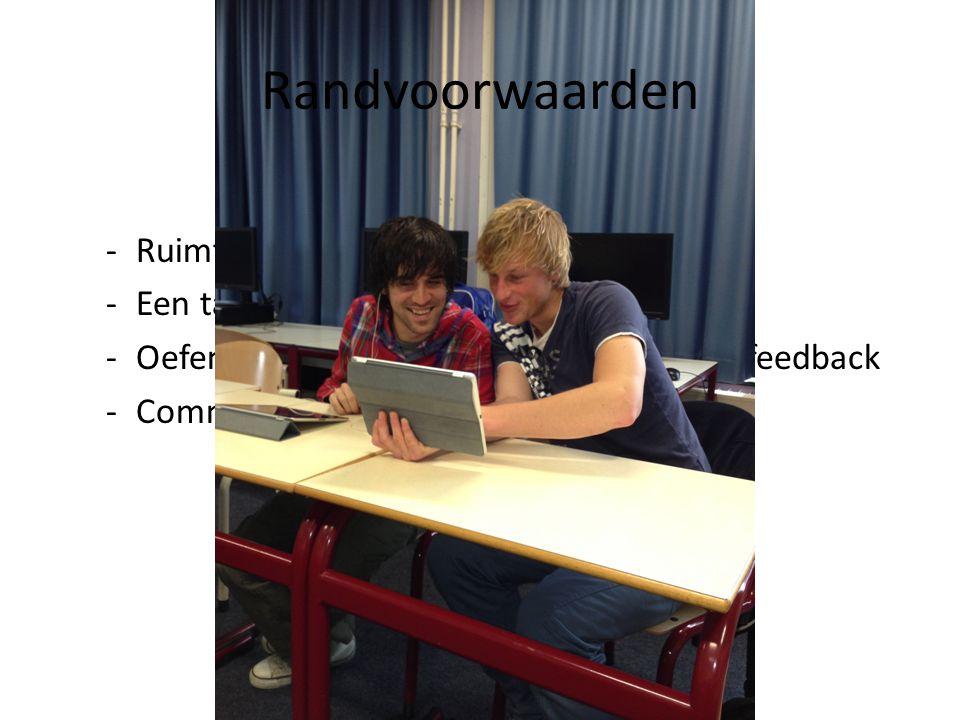 Randvoorwaarden Ruimte in het rooster Een tablet/ iPad per student
